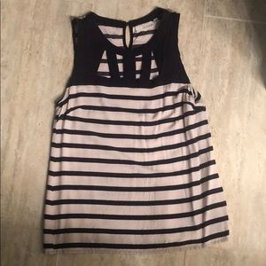 Navy and cream tank with cut out detail